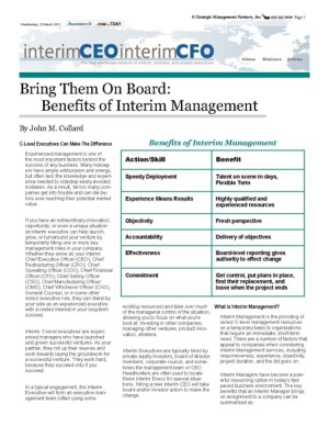Benefits of Interim Management by John M. Collard, Strategic Management Partners, Inc.,  published by InterimCEO News